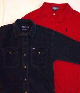 49b90455c 2 Beautiful Ralph Lauren Polo Boy s Shirts Navy Corduroy   Pique ...