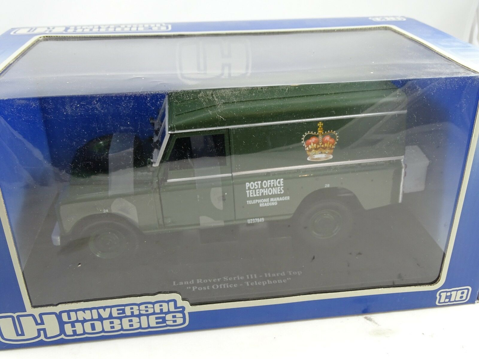 1 18 Universal Hobbies Land Rover Series III Hard Top Post Office Telephone RARE §