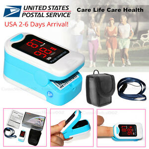 Finger-Pulse-Oximeter-Blood-Oxygen-SpO2-PR-Heart-Rate-Monitor-Free-Pouch-amp-Lanyard