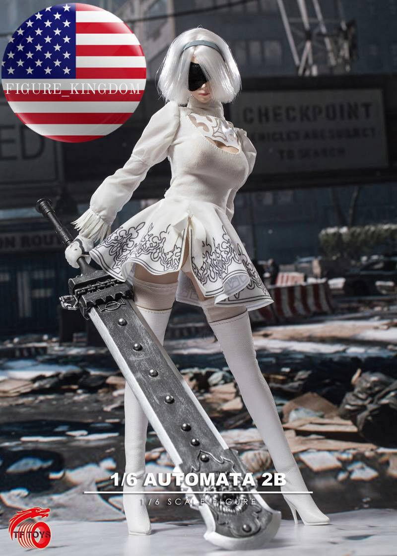 1/6 Nier Automata YoRHa No.2 Type B Head Sculpt Dress Set with 3 SWORDS For S10D