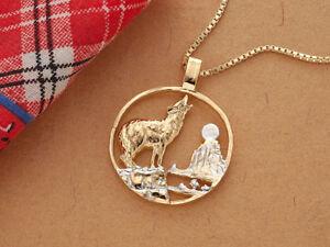 "Wolf Howling Pendant & Necklace Hand Cut Medallion 1-1/4"" diameter, ( # 554 )"