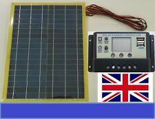 20w Light Solar Panel + 10A LCD 12v 24v Battery Charger  2 x 5V USB + 4m cable