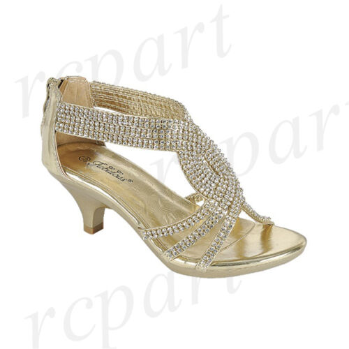New girl back zipper dress shoes open toe special occasion formal jewel Gold