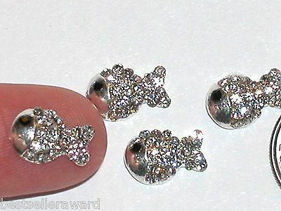 2pc Miniature Dollhouse TINY little crystal Gold Fish bail finding nail flatback