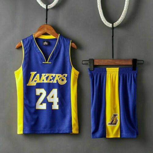 Kids Boys Lakers Kobe #24 Basketball Jersey Sport Training Tank Vest Shirt Kit
