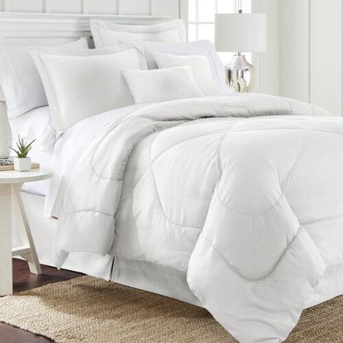6 Piece Set Chevron Embossed Comforter Set 8 Colors