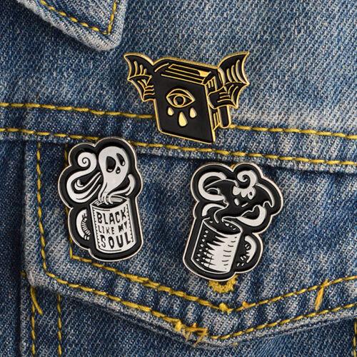 Punk Bat Evil Eye Ghost Enamel Halloween Soul Brooch Pin Shirt Denim Jacket ZP
