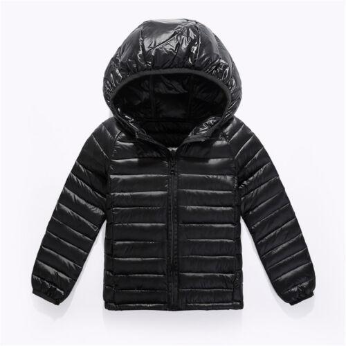 Boys Girls Kids Baby Winter Duck Down Hoodie Hooded Outwear Warm Coat Jacket