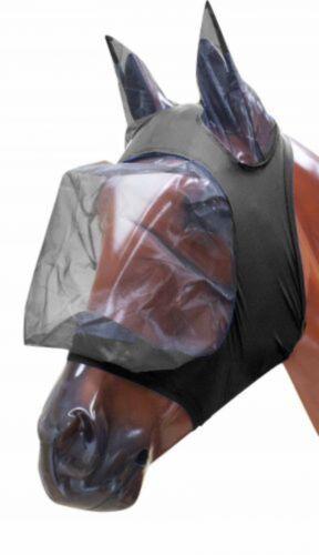 NEW HORSE TACK! Showman MEDIUM BLACK Lycra Zipper Fly Mask with Ears