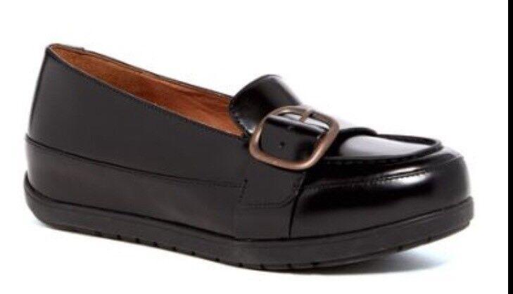 NIB fitflip Negro Cuero Cuero Cuero Beau Mocasines Mocasín Slip On Hebilla Zapatos 10 Nuevo Derby  diseño único