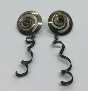 Vintage-Earrings-Swirl-Dangle-Silver-Tone-Dangle