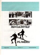 "ORIGINAL CINEMA PRESS SHEET- "" SKY RAIDERS  ""- JEAN-CLAUDE KILLY"