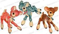 Vintage Image Shabby Retro Three Deer Pink Blue Brown Waterslide Decals An664