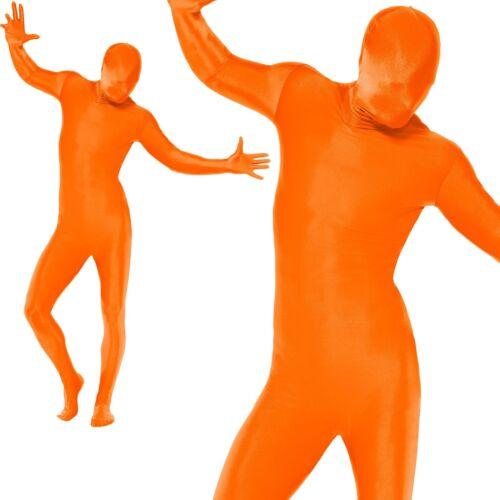 Mens Second Skin Orange Bodysuit Lycra Fancy Dress Party Costume Outfit M,L