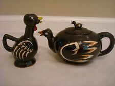Vintage Ceramic Duck Tea Pot Teapot & Rooster Creamer by Royal Sealy of Japan
