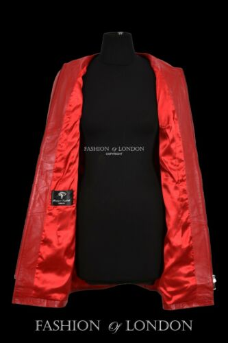 Ladies Real Leather Jacket Red Napa Collarless Coat  Knee Length Tie Belt Jacket