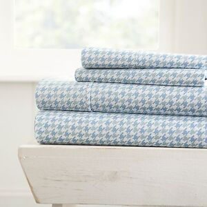 Home-Collection-Ultra-Soft-Hounds-Tooth-Pattern-4-Piece-Bed-Sheet-Set