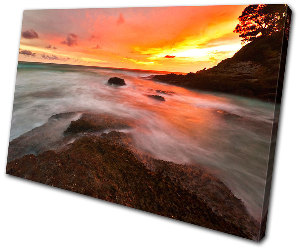 Canvas Artwork Picture Print Wall Photo Seascape Sunset Waves Bathroom Tranquil