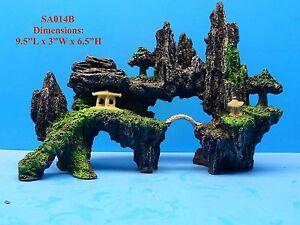 Mountain view cave bridge tree fs014b aquarium decor resin for Aquarium mountain decoration