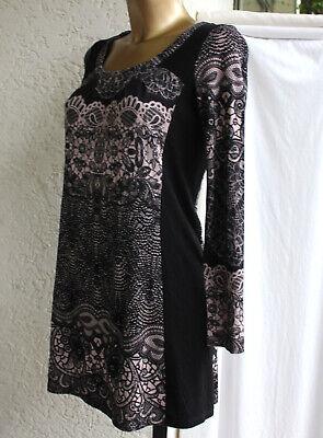 Comma kleid 36 langarm schwarz rosé mini   eBay