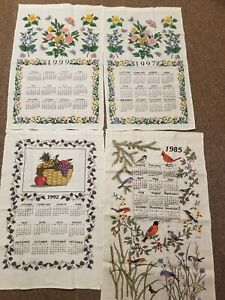 Lot-of-4-Vtg-Linen-Cotton-Calendar-Tea-Towels-1985-1992-1997-1999-No-Stains-Nice
