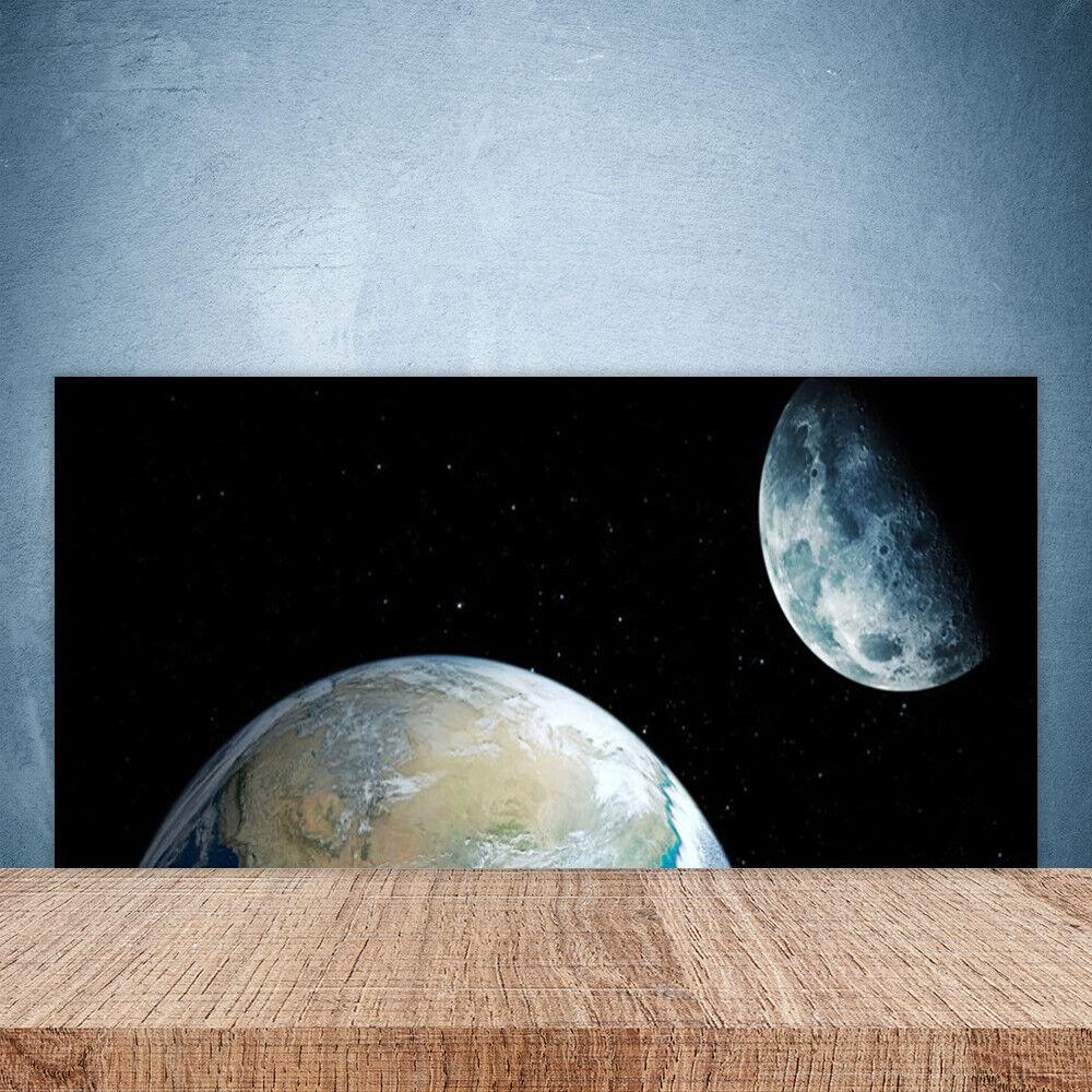 Vidrio Templado Cocina salpicaduras 100x50 Luna Tierra Espacio Universo
