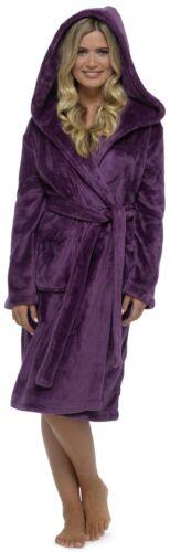 Foxbury Ladies Plain Luxury Fleece Hooded Dressing Gown Robe