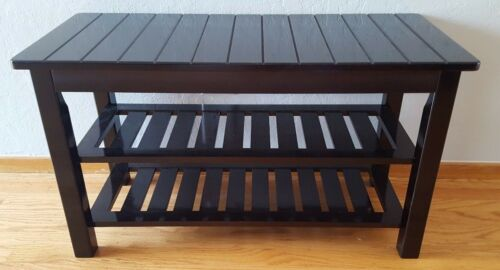 Dark espresso bamboo shoe rack bench 30 inch brand new condition