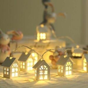 2M 10 LED Lights Wood House Christmas Tree Hanging Xmas Ornaments Decoration