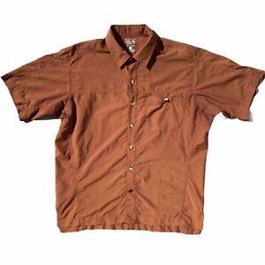 Mountain-Hardware-Mens-Brown-Short-Sleeve-Shirt-Button-Up-Hiking-Size-Medium