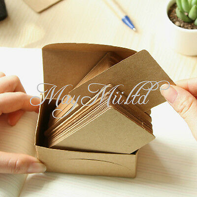 100pc Blank Business Card Name Message Note DIY Stamp Label Tag Kraft