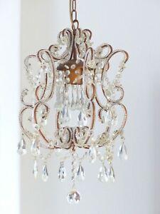 Charming-Vintage-Chandelier-Glass-drops-Prisms-1980-MURANO-Lustre-Gouttes-RARE