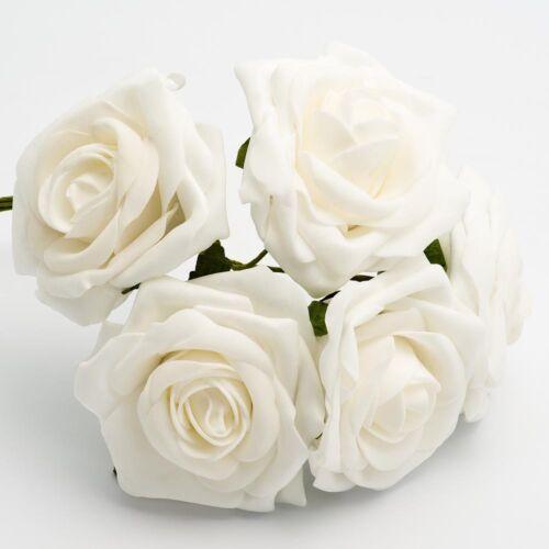 10cm Foam Roses Bunch Of 5 Artificial Wedding Flowers Bouquet Colorfast Corsage