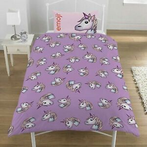 Duvet-Cover-Set-Double-Bedset-Purple-Pink-Reversible-Emoji-Unicorn-Bedding-Set