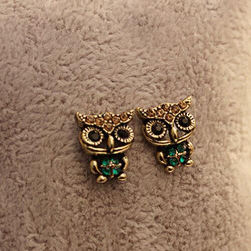New Jewelry Lady Fashion Style Owl Rhinestone Cute Vintage Ear Stud Earrings