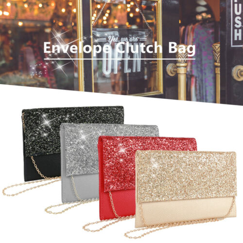 Women Diamante Clutch Evening Bag Leather Wedding Party Prom Handbag Purse CY