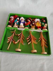 7-Vintage-German-Wooden-Christmas-Ornaments-Gnomes-Germany-Wood-Hirschmann