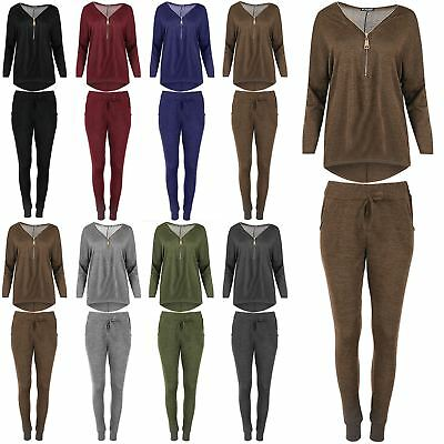 Womens Ladies Laganlook Zip Up Knitted Top Jogsuit Hi Lo Trousers Tracksuit Set Hohe Belastbarkeit