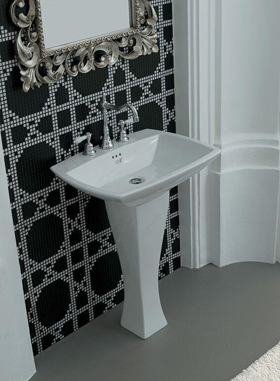 Lavandino Lavabo Design Jazz con Colonna in Ceramica blanc da 70x49 cm