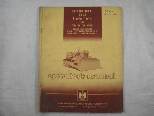 International IH TD-30 TD30 Dozer Crawler Parts Manual Book