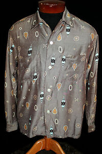 VERY-RARE-COLLECTIBLE-VINTAGE-1950-039-S-BROWN-SILKY-RAYON-PRINT-SHIRT-SIZE-M