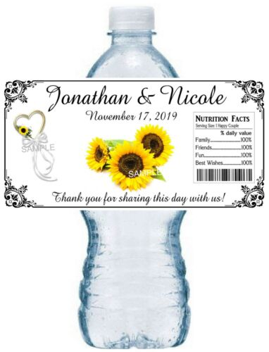 SUNFLOWER WEDDING FAVORS WATER BOTTLE LABELS Waterproof ~ Glossy ~  ANY COLOR