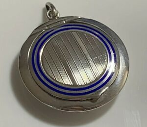Stunning-Art-Deco-Hallmarked-935-Silver-amp-Blue-Enamel-Small-Chatelaine-Compact