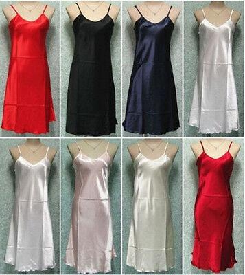 Ladies Satin Lace Strappy Nightdress Nightie Nightgown Chemise Plus Size S-2XL