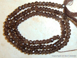 """Micro Faceted Rondelle SMOKY TOPAZ 3.5-4mm Gemstone Beads 14"""" Str- Great Quality"""