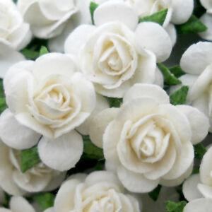 Details About 50 Small White Paper Craft Flower Wedding Scrapbook Crafts Rose 15 Zr8
