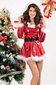 best website 7fc13 e0a8e Details zu Sexy Damen Frauen Metallic Rot Weihnachts Verkleiden Weihnachten  Kleid
