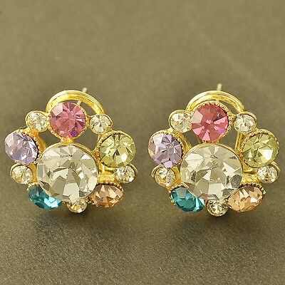 Rare 9K Yellow Gold Filled Multi Colour crystal Crystal Stud Earrings,Z5391