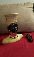 VINNTAGE WOMAN BUST TABLE LAMP- Works great- very rare- green/gold/black