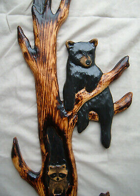 Wood  Carving RACCOON /& BLACK BEAR Chainsaw Cabin Decor Wall Art  Carved cub
